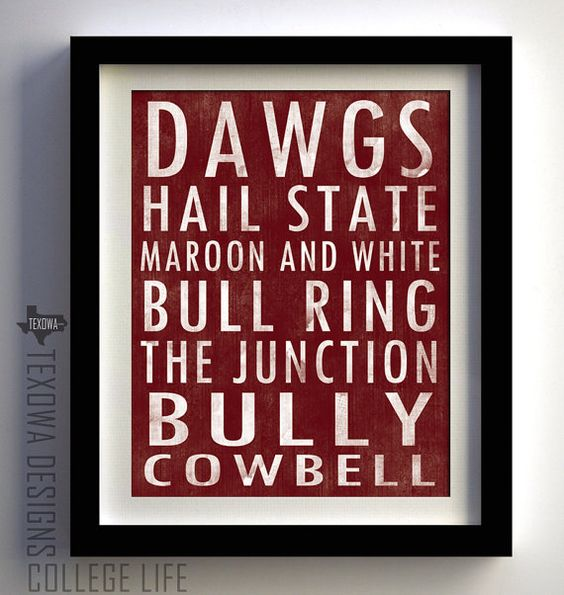Mississippi State Bulldogs Subway Scroll Art