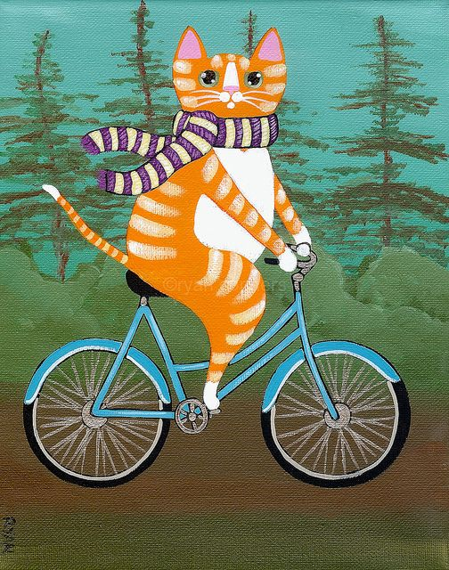 ginger bicycle kitty by Kilkennycat, via Flickr