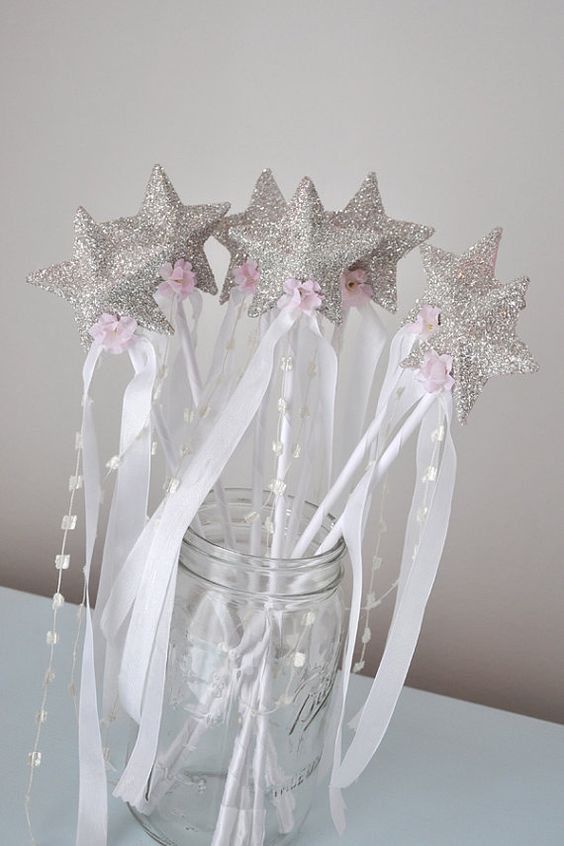 Girls glittered star wand birthday party favor dress up for Birthday wand
