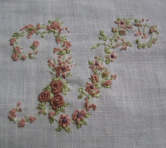 Hand Embroidery Monogram Letter U by Madame Hollyhock