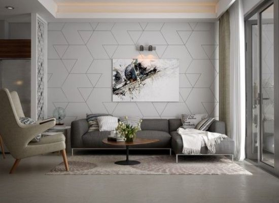 Trendy Living Room Accent Wall With Geometric Patterns Accent Walls In Living Room Living Room Ornaments Minimalist Living Room Design
