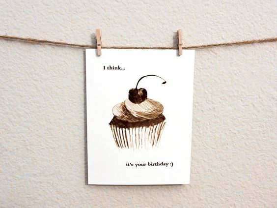 I Think It's Your Birthday Card 100 Recycled by WanderDesign, $3.00