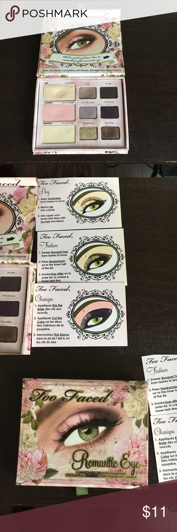 Too faced romantic eye eyeshadow pallet Only really gently used 2 colors. Comes with eye makeup instructions for various looks. Too Faced Makeup Eyeshadow