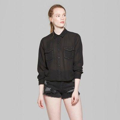 Women's Long Sleeve Button-Down Western Shirt - Wild Fable Black Xxl
