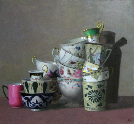 """Gallery Henoch - Olga Antonova, Composition with Pink Cup, Oil on Canvas, 26"""" x 28"""":"""