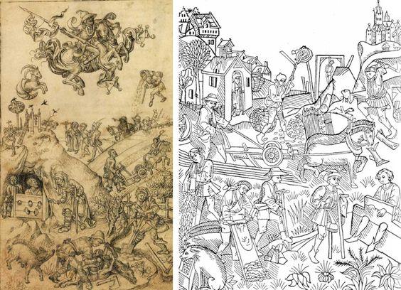 Dos grabados con los hijos de Saturno. A la izquierda, una plancha del «Master of the Housebook», c. 1475/85. El ermitaño se encuentra al fondo, consolando un prisionero que lleva un alguacil. A la derecha, de la serie de grabados «Die Wirkungen der Planeten», c. 1470. A la izquierda de la ilustración se ve un ermitaño en su ermita.