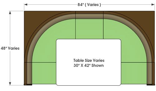 Restaurant Booth Half Circle Typical Style Plan View