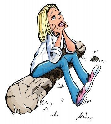 Cartoon of pretty blonde girl sitting on a log. She stare wistfully upwards Stock Photo - 9232628