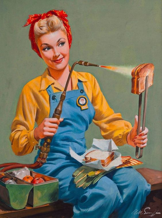 1940s Pin-Up Girl Rosie Welding Lunch Picture Poster Print Vintage Art Pin Up