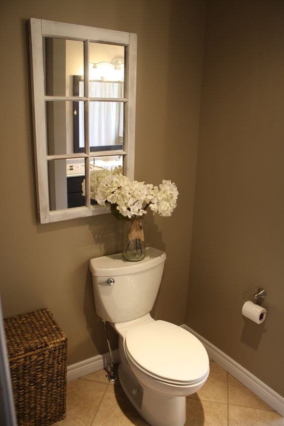 Country Bathroom décor, hydrangeas in a jar, Old window mirror                                                                                                                                                      More