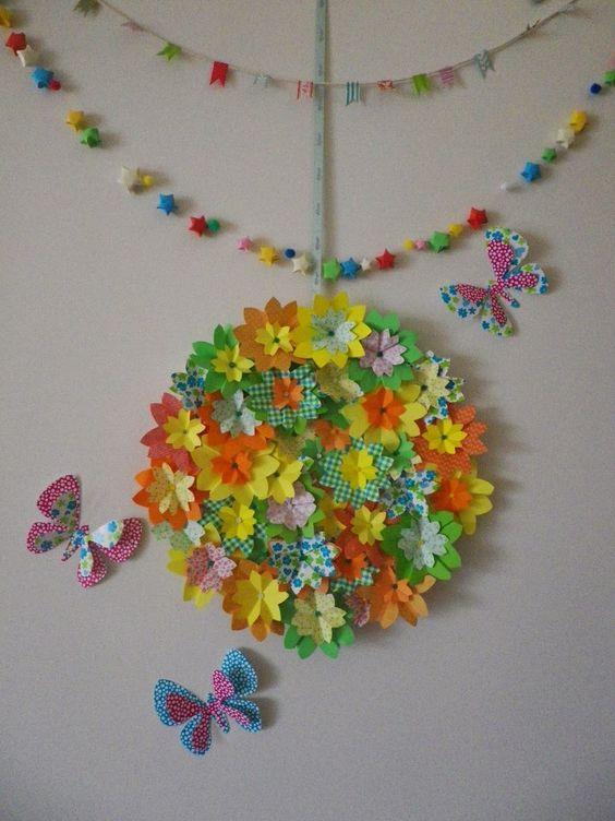 couronne de printemps origami fleur cerisier papillon. Black Bedroom Furniture Sets. Home Design Ideas