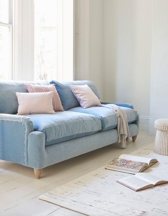 Loaf S Comfy Pavlova Sofa Upholstered In A Light Blue Velvet With Pastel Pink Scatters In Th Blue Sofas Living Room Light Blue Sofa Light Blue Sofa Living Room