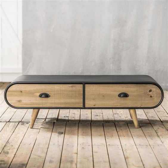 salontafel met lades, zwart metaal en hout