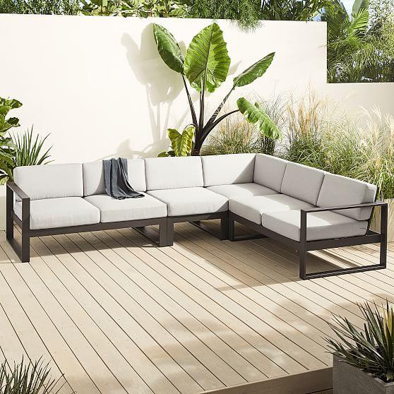 Portside Aluminum Outdoor 4 Piece Sectional Lounge Chair Outdoor Outdoor Lounge Sectional