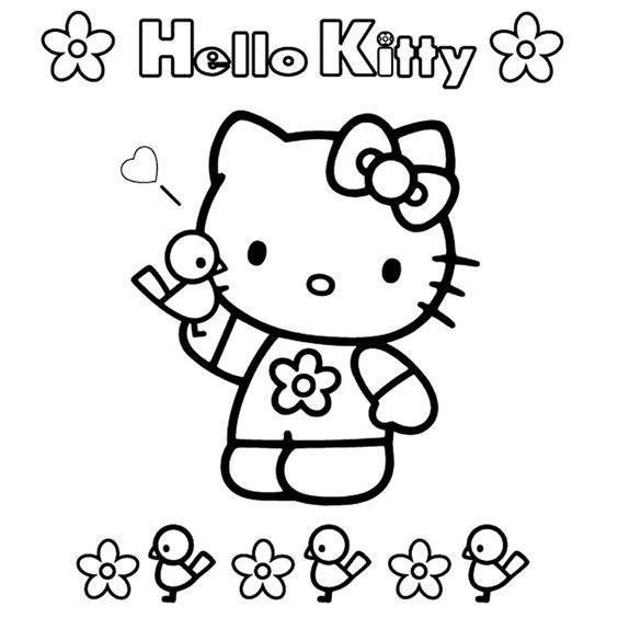 Coloriage Hello Kitty Facile a Imprimer Gratuit