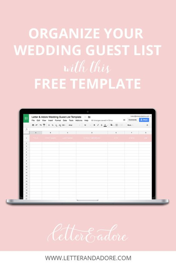 Keep your wedding guest list organized with this free template - invite list template