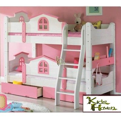 Pretty House Double Deck Bed Bunk Children Beds Kids