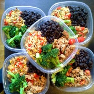 I love this website. Starting after Super Bowl. meal prep - brown rice, turkey, black beans and broccoli: