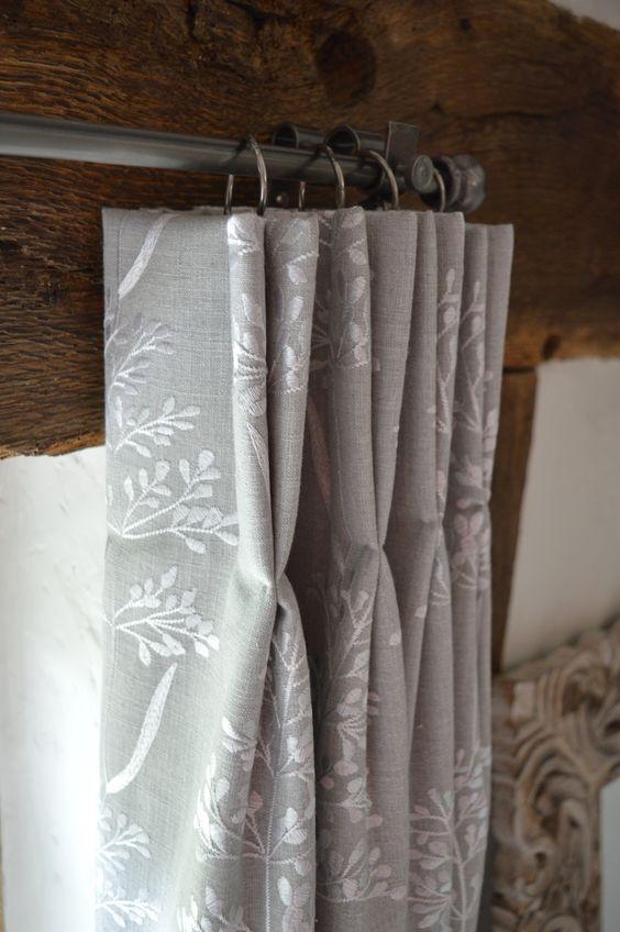 Beaulieu Gainsborough Embroidered Fabric Hand Pleated Bedroom Curtains Handmade Bespoke Curtains Farnham