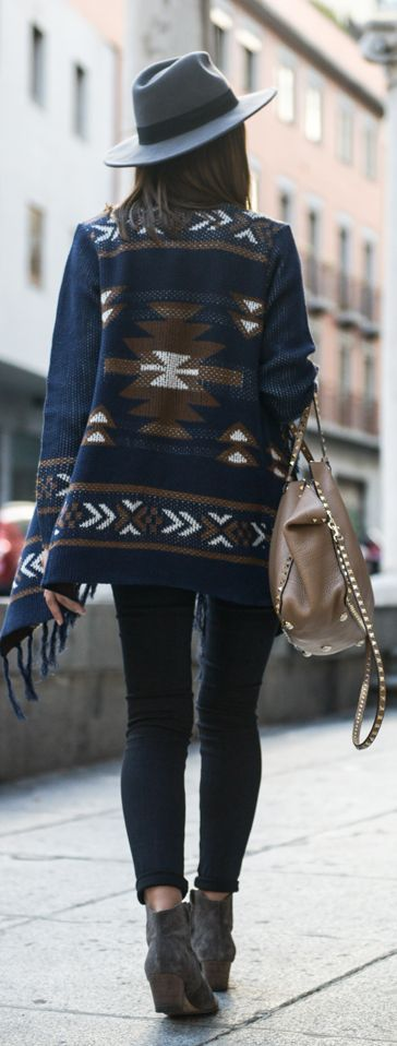 Blue Multi Fringe Aztec Print Knit Cardi by Lovely Pepa:
