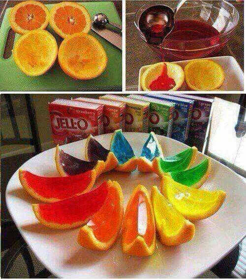 Orange jelly just cut up the oranges and then put the Jello in socket