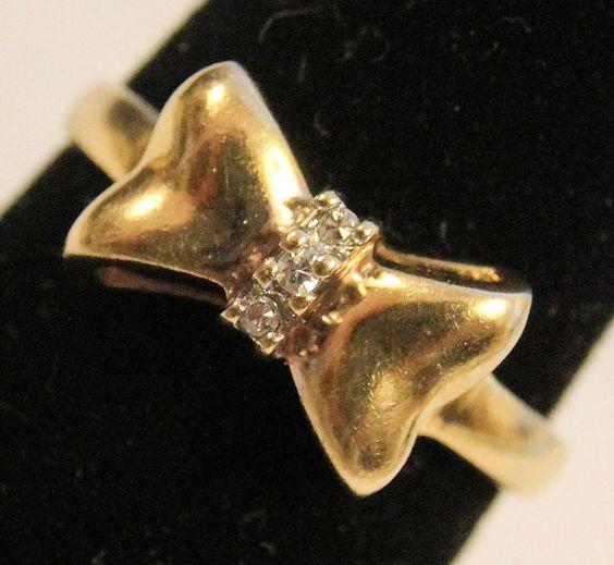 Estate 14K Yellow Gold 3 Diamond Bow Tie Ring by HillsboroughRoad