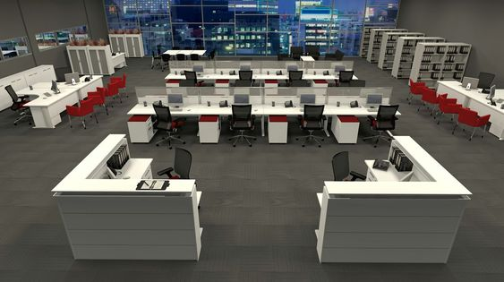 Modern workstation design layout for open plan office for Unique office layouts