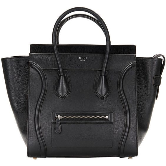 celine leather handbag - Pre-owned Celine Black Drummed Leather Mini Luggage Tote (17 745 ...