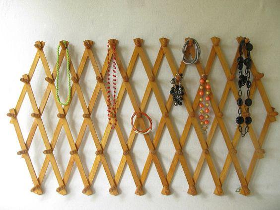 Vintage Accordion Rack, Wood Peg Rack, Expandable Peg Rack   Woods and ...