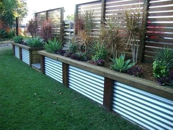 Fence Edging Ideas Full Image For Corrugated Steel Panels Installed Vertically As Garden Edging Garden Border Fence Garden Edging Fence Design Backyard Fences