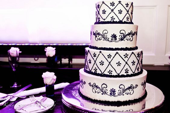 purple, black and silver cake
