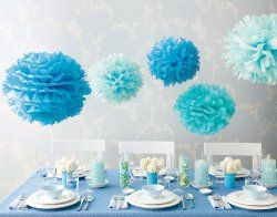 love these out of tulle for a corner of brityn's room...      Lanterns and poms galore in varying shades of turquoise over the changing table. Clustered close to ceiling.