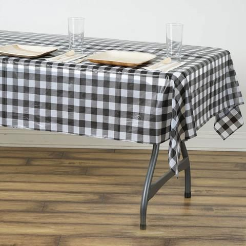 Buffalo Plaid Tablecloth 54 X 72 Rectangular Spill Proof Tablecloths White Black Disposable Checkered Plastic Vinyl Waterproof Tablecloths Plastic Table Covers Table Cloth Table Covers