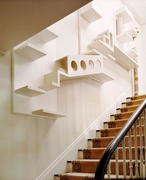 Cat room ideas for small spaces like this stairwell make the most of unused areas in your home.