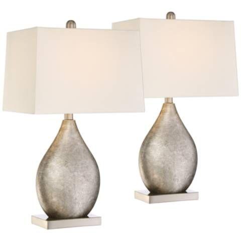 Royce Teardrop Metal Table Lamp Set Of 2 9h211 Lamps Plus Lamp Sets Modern Table Lamp Table Lamp Sets