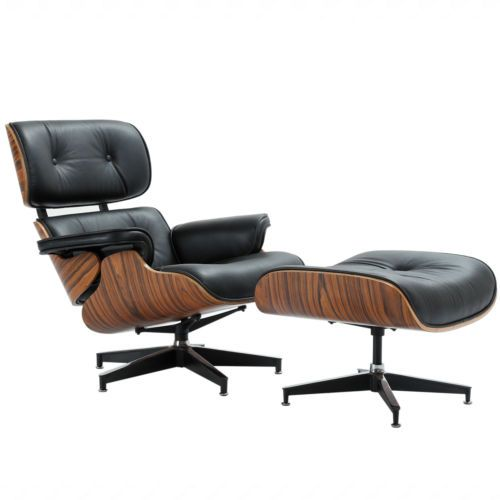 Mid Century Eames Lounge Chair And Ottoman Top Grain Leather Black