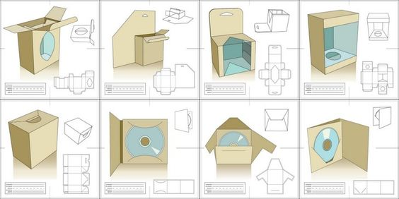 Vector Packaging Templates, Try It Out Template, Packaging nets - compact cd envelope template