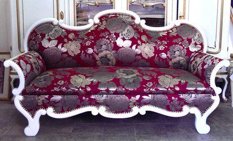 Antikes Sofa - Weiß und Bordaux - ANSCHAUEN !!!