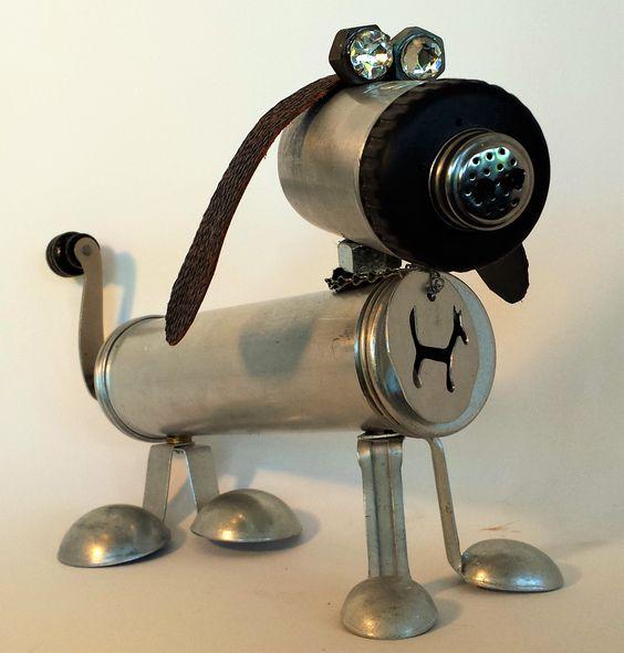 Dachsund found object robot assemblage