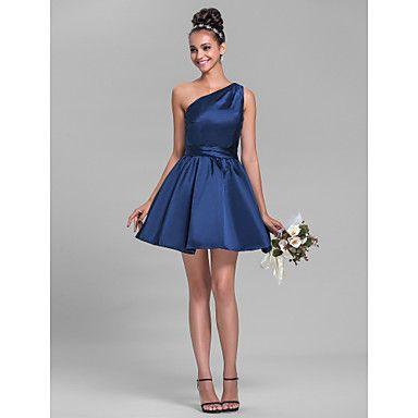 robe de demoiselle d'honneur sans manches en satin A-ligne une épaule court / mini (699314) - EUR € 57.74