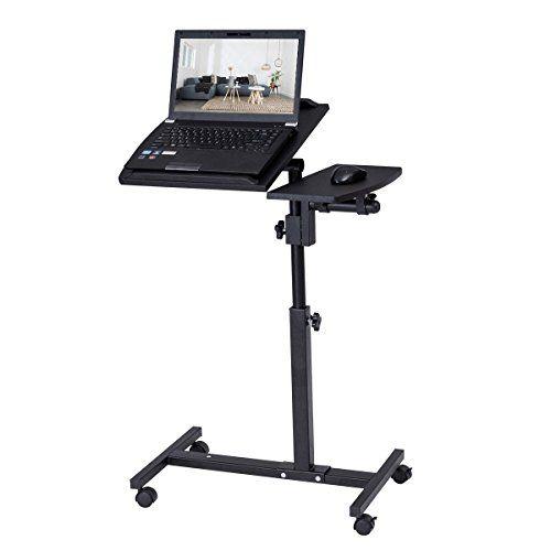 Tangkula Portable Laptop Desk Mobile, Portable Folding Computer Desk Laptop Table Workstation Furniture Black