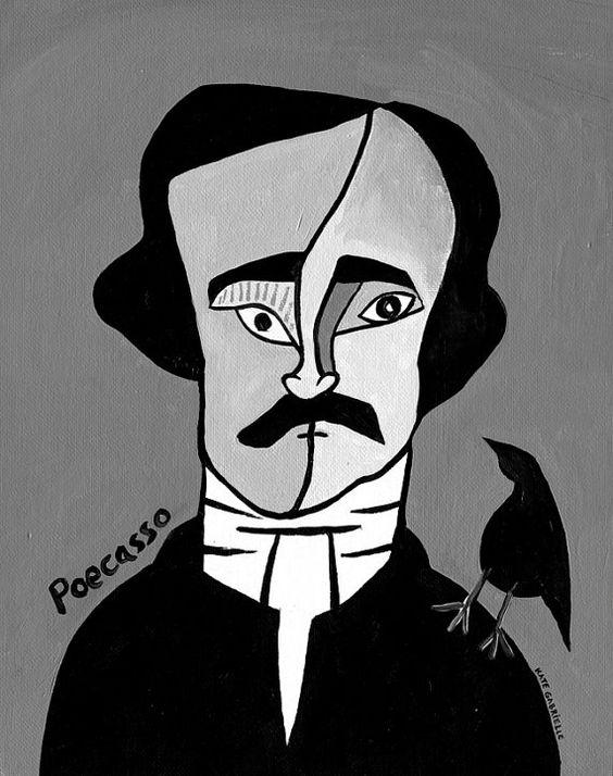 Poecasso // Edgar Allen Poe Picasso pun art print by punsintended: