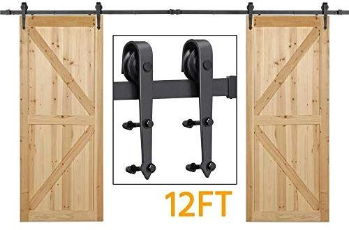 Amazon Com Yaheetech Yt 1426 12ft Sliding Barn Hardware For Double Heavy Duty Track Kit Includes In Double Doors Interior Sliding Barn Door Hardware Barn Door