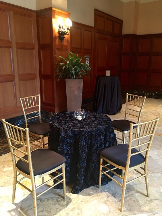 Black Satin Rose with Gold Chiavari Chairs
