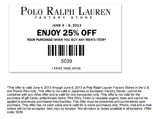 Enjoy an extra 25% Off at Polo Ralph Lauren & Polo Ralph Lauren Facto0ry  Outlet