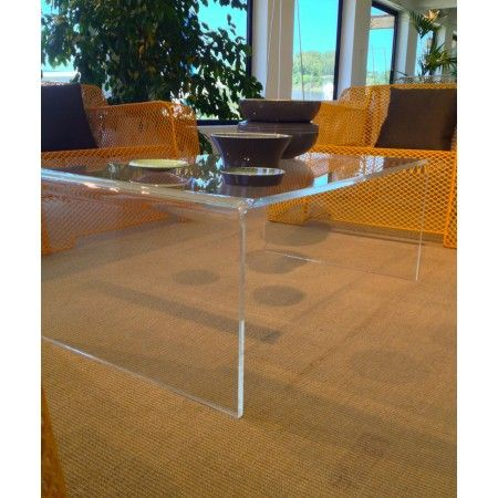 Tavolo salotto 100x59 h 40 in plexiglass trasparente for Plexiglass arredamento