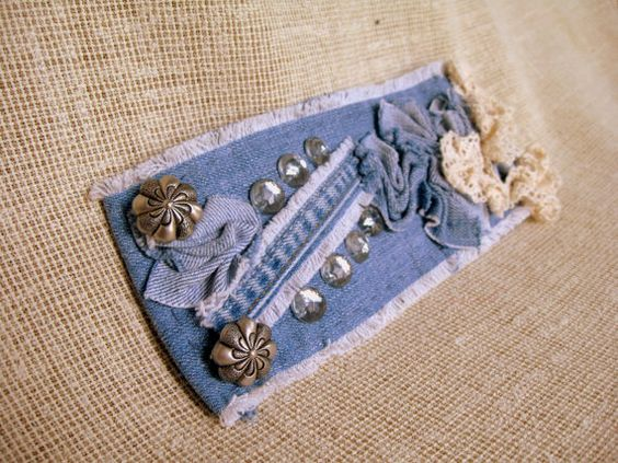 Denim Charming Cuff Bracelet with Lace and Vintage от mycrazycraft