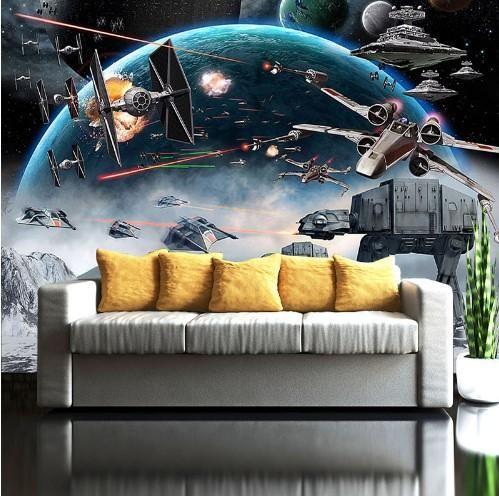 3d Star Wars Cartoon Wall Mural Battle Scene Wallpaper For Home Or Business Kids Room Murals Star Wars Mural Kids Room Wallpaper