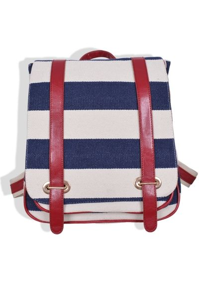 Classic Striped Faux Leather School Bag