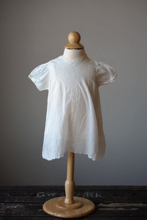 1950s Heirloom Batiste Cotton Dress Size 9 Months by salvagehouse